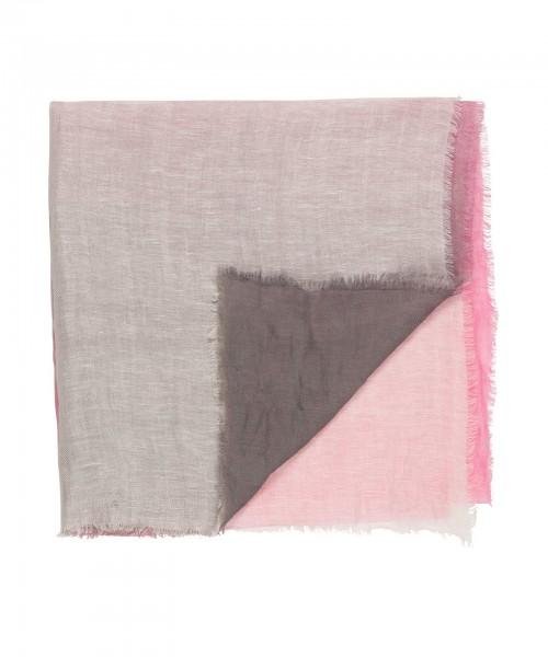 Schal / Tuch mit Farbverlauf in Pink / Grau und Braun / Natur