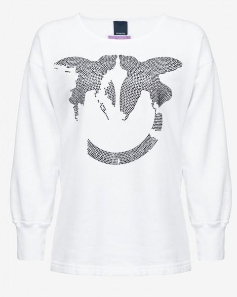 Sweatshirt Love Birds mit Schwarzen Kristallsteinen in Weiß, Limette, Pink