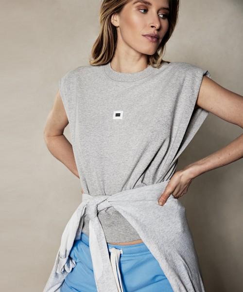Ärmelloses Sweatshirt mit Schulterpolster Hellgrau Melange