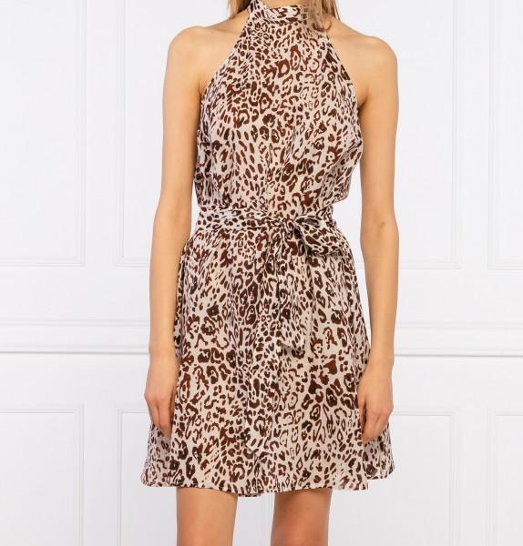 Neckholder Kleid Leopard Print Ecru mit Braun