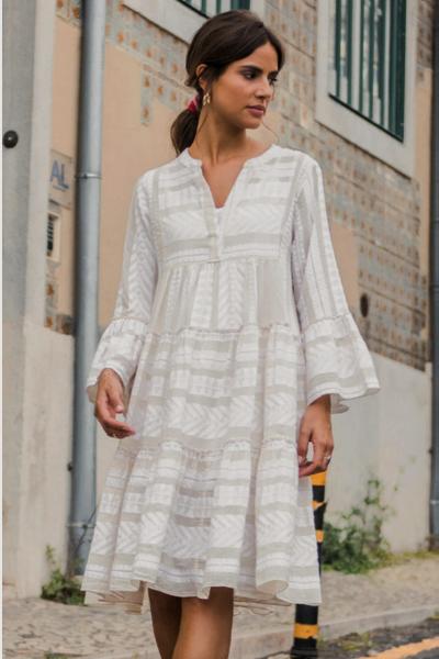Sommerkleid mit 3/4 Arm in Ecru-Beige
