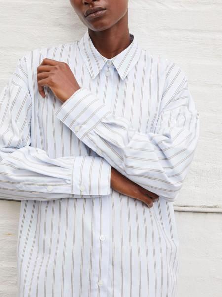 Hemd Oversize in Bio Baumwolle Blue mit Natur Streifen