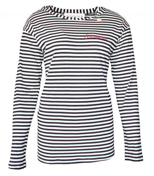 Streifen 1/1 Arm T-Shirt mit Organic Cotton Schwarz-Weiß