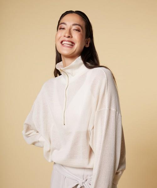 Pullover mit Stehkragen Netzoptik in Beige