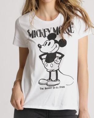 T-Shirt aus Baumwoll-Mix mit Mickey biggest Print Weiß