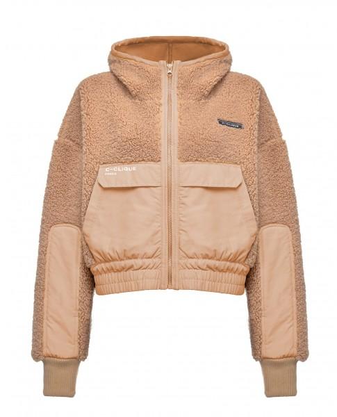 Sportliche Fake Fur Jacke mit Kapuze in dunklem Beige