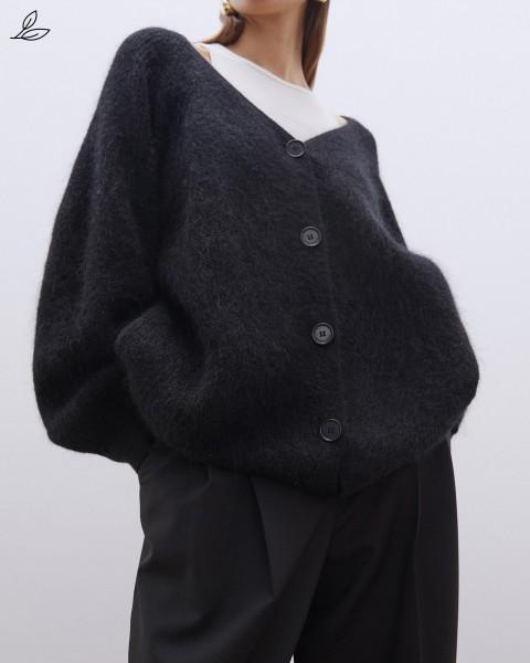 Leichter Cardigan in Wolle-Mohair-Mischung Schwarz