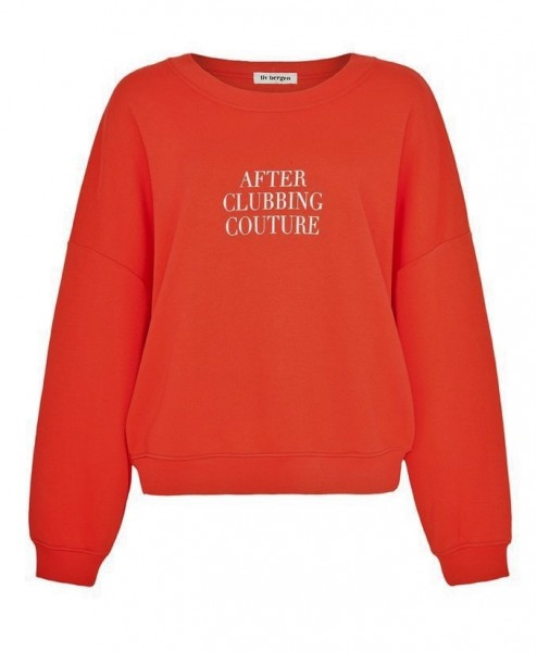 """Oversize Sweatshirt """"After Clubbing Couture"""" in Rot & Hellgrau"""