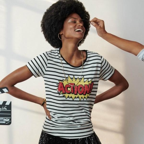 T-Shirt mit Streifen und Pailletten in Schwarz / Weiß