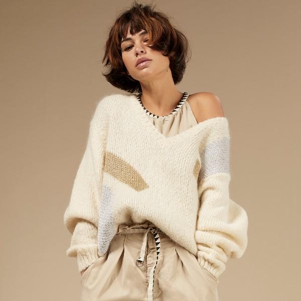 Pullover mit V-Ausschnitt grafisches Muster