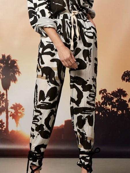Weite Hose mit Tunnelzug aus Baumwolle Seide Mix
