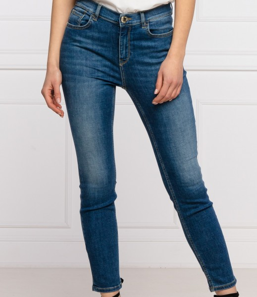 Jeans Skinny SABRINA in Mittelblau Love Bird Logo