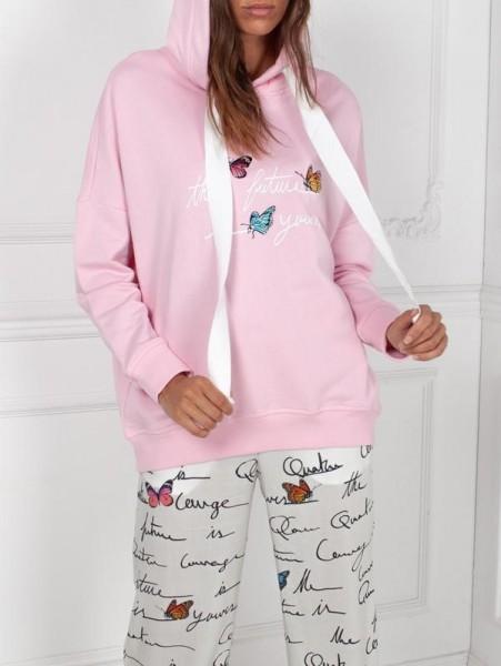 """Hoodie Sweatshirt Schmetterlinge """"the future is yours"""" in light Pink"""