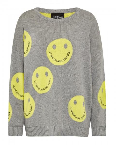Pullover mit Rundhals Oversize Allover Smiley in Grau & Ecru