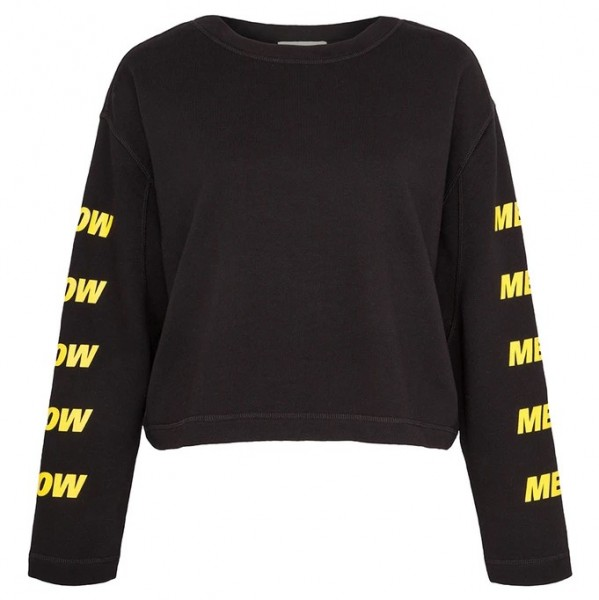 Sweatshirt Schwarz mit gelber Aufschrift am Ärmel