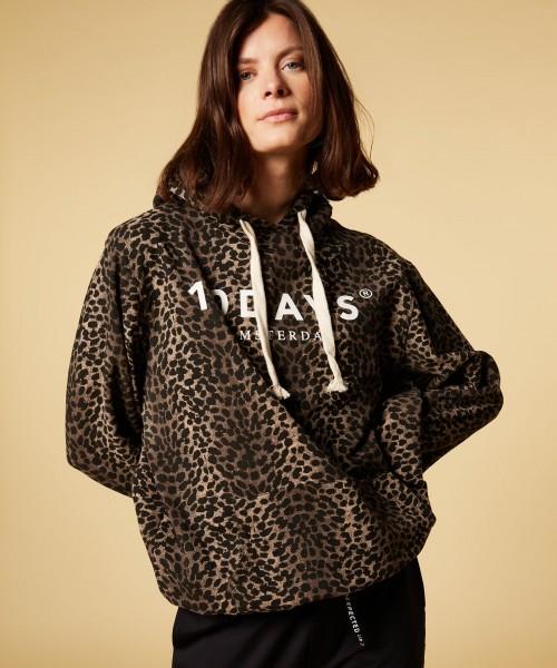 Sweatshirt / Hoodie loose fit mit Logo und Leoparden Print Braun-Schwarz