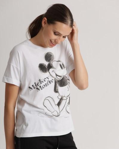 T-Shirt mit Mickey Mouse schwarzem Print in Weiß