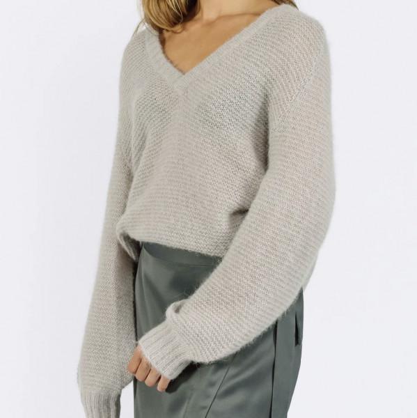 Pullover V-Ausschnitt mit Alpaka in Schwarz & Pearl Grey