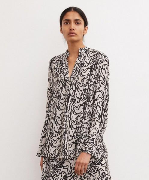 Tunika Bluse Greige mit schwarzen Print