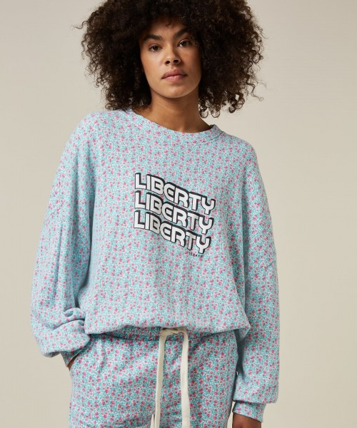 Sweatshirt mit Blumenprint Liberty in Ecru/Grün/Pink