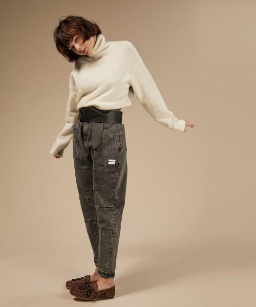 LAST PIECE Jeans loose fit mit hohem Bund in Dunkelgrau