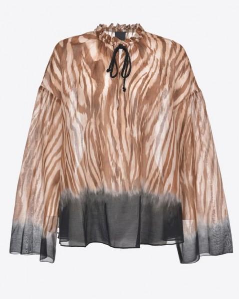 Tunika aus Baumwollvoile im Allover-Zebraprint