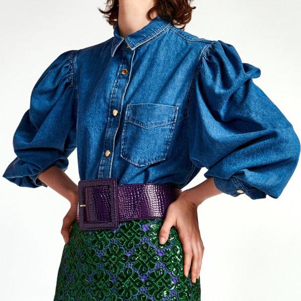 Last Piece Jeansbluse mit Puffärmel in Blue-Denim