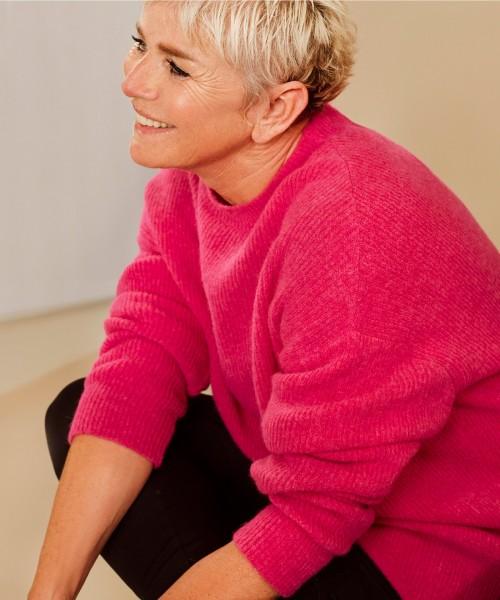 Oversized Long Pullover Merino-Alpaka Mischung Pink