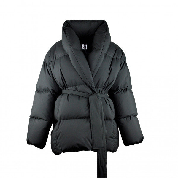 LAST PIECE Daunenjacke Schalkragen mit Gürtel DADA Puffer Jacket Schwarz