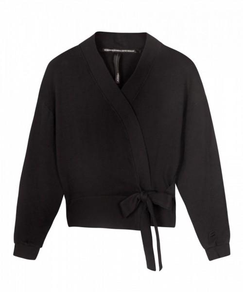 Wickeljacke in dünnem Sweatshirt-Stoff Schwarz