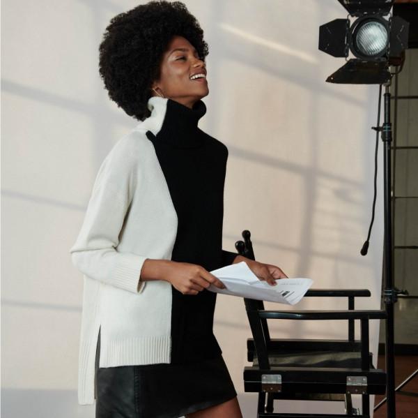 Rollkragen Pullover 2-farbig mit Cashmere