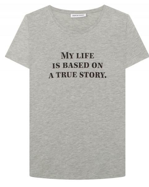 """T-Shirt mit Aufschrift Grau """"Based on a true story"""""""