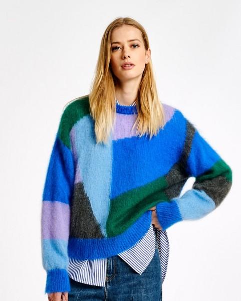 Intarsien Pullover in Mohair-Mischung Blau / Hellblau / Grün
