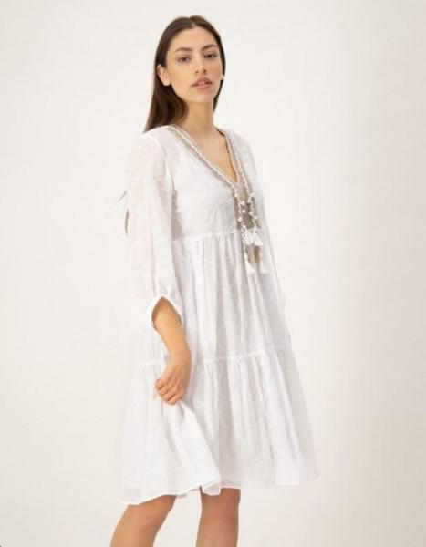 Kleid mit verziertem Tunika Ausschnitt Weiß