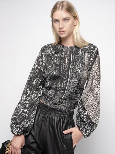 Rückenfreie Bluse aus Viskose-Twill im Bandana-Print Schwarz