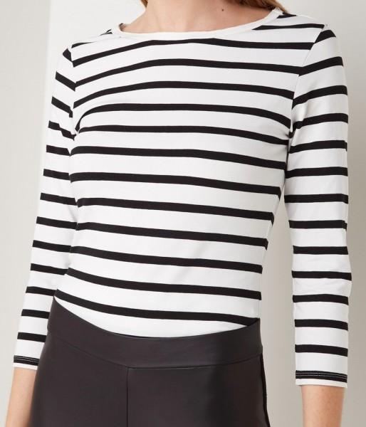T-Shirt 3/4 Arm mit Streifen Creme/Schwarz