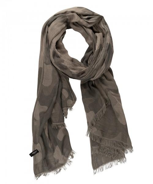 Schal mit einem Allover-Camouflage-Print in Grau-Moosgrün