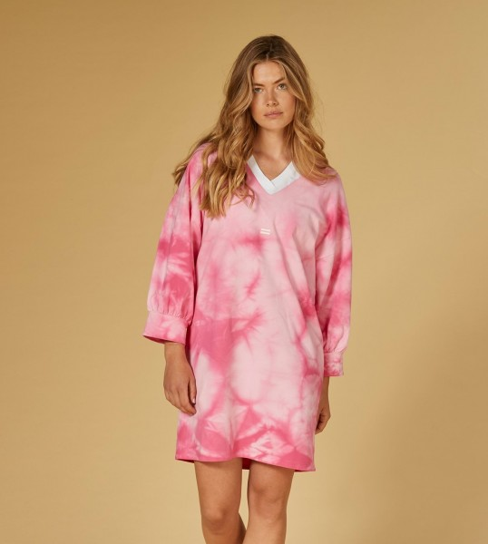 Jerseykleid mit Gürtel in Batik Candy Pink
