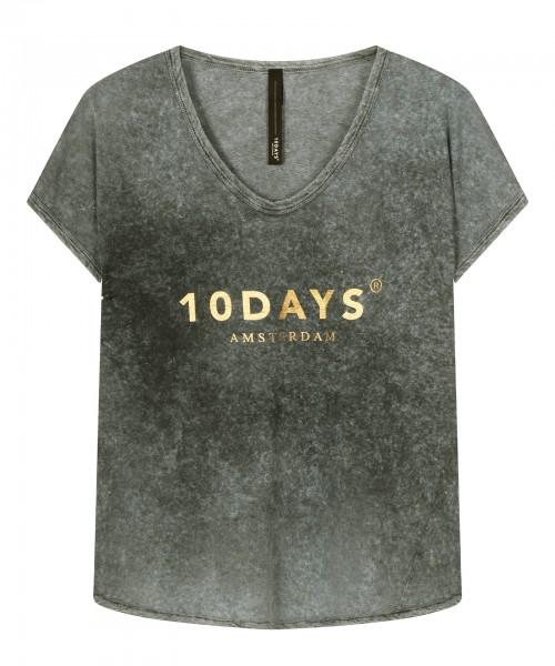 T-Shirt Grau tie dye mit Logo in Gold