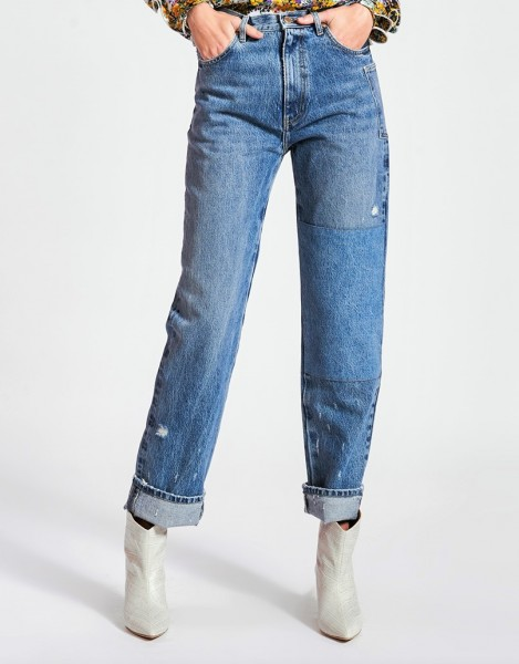Jeans Distressed Patchwork Denim