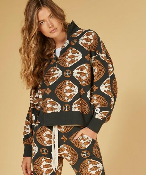 Sweatshirt mit Stehkragen mit Ethno Print