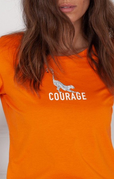 "T-Shirt Gepard-Print ""Cheetah Courage"" in Orange"