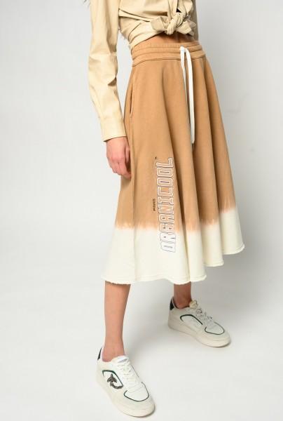 Ausgestellter Sweatshirt Rock lang mit Batik beige