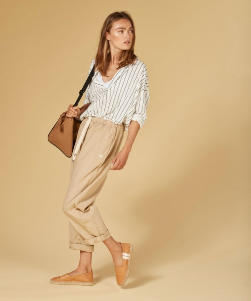 7/8 Hose loose fit in Beige aus Bio Baumwolle