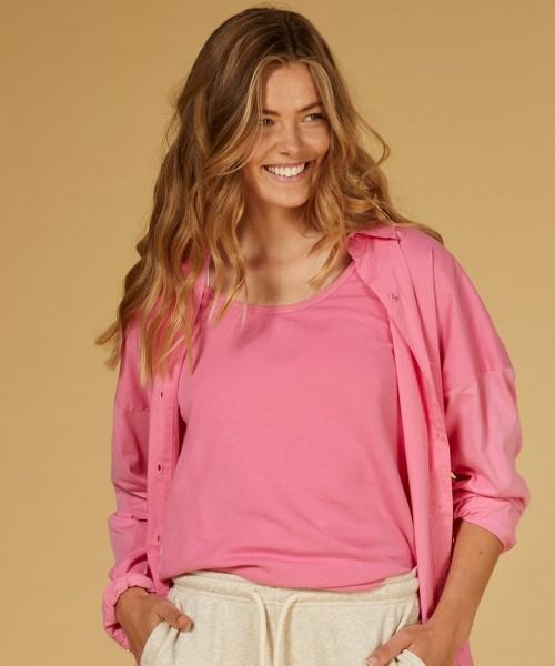 Top mit Rückenteil in glänzender Seidenmischung Candy Pink