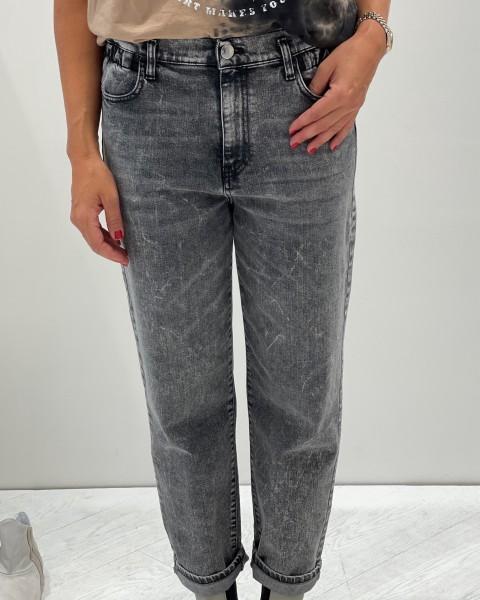 Jeans Mom fit Style mit Gummibund in Dunkelgrau