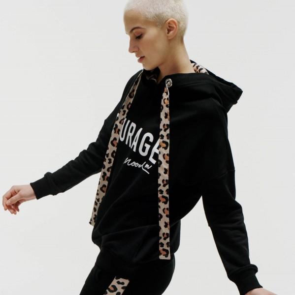 Hoodie Sweatshirt mit Leo-Print Bändern Courage Mood On in Schwarz