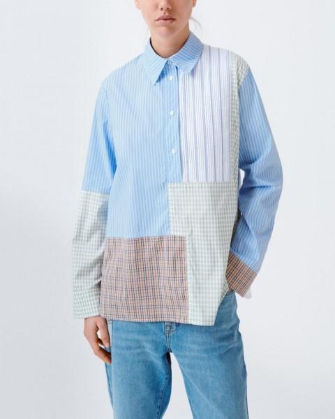 Streifenhemd Patchwork Randy Blue