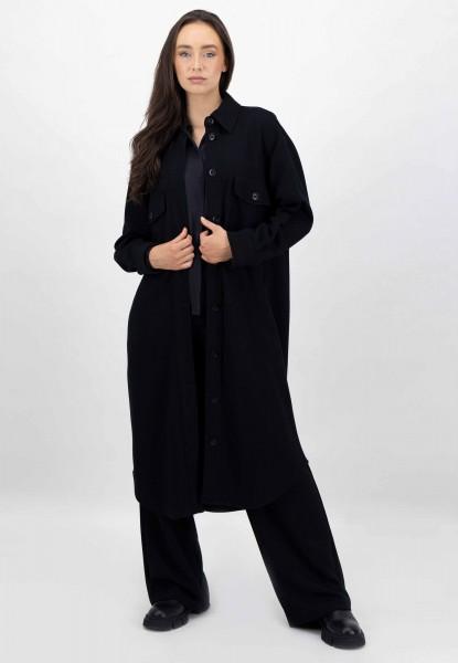 Mantel Kleid Overshirt in weicher Viskose-Mischung Schwarz
