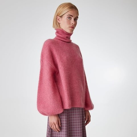 Last Piece Rollkragen Pullover Mohair-Wolle in Beere und Aqua